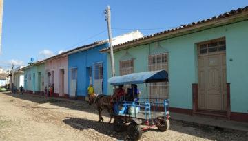 Hest og kjerre på brostein og fargerike hus
